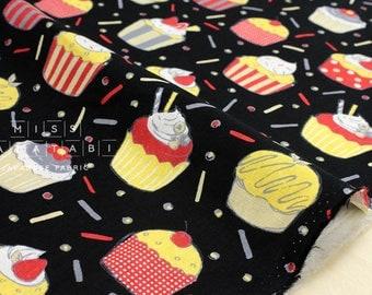 Japanese Fabric - party cupcakes - black - 50cm