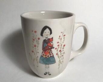 girl with fox coffee mug farmhouse kitchen rustic kitchen