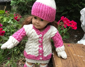 "Doll Sweater, skirt, purse, hat, mittens, leg warmers for 18"" doll"