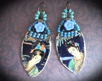 Beaded Bohemian Dangle Earrings. Handmade Earrings. Geisha Earrings. Frida Kahlo Inspired Tin Earrings. Artisan Earrings Woven Bead Earring