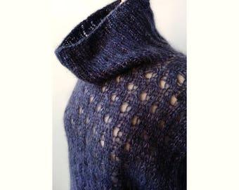 Vivienne Mohair and Silk Hand Knit Tunic, in Aubergine Purple, Sweater, Wrap, Swing, Turtleneck, Luxurious, Winter, Warm, Dress, Lace