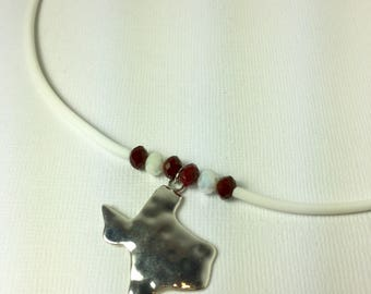 Texas Necklace in Maroon and White