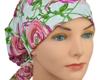 SMALL Womens Surgical Scrub Caps with FABRIC TIES - The Hat Cottage - Cabbage Rose