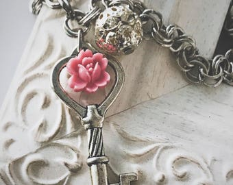 Silver Key Necklace - pink flower - chunky chain necklace - silver necklace for women