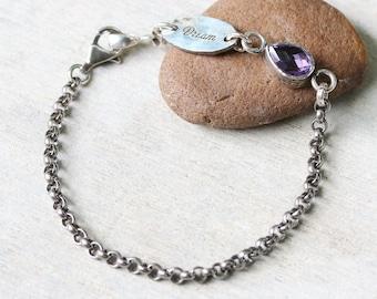 DREAM,Teardrop faceted amethyst bracelet in brass bezel setting and sterling silver oxidized rolo chain