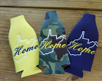 WV Home embroidered Long Neck Bottle insulator - choose from navy yellow or camouflage