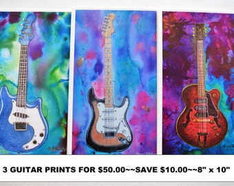 SALE, 3 Guitar Prints, Guitar Watercolors, Guitar Paintings, Fender Stratocaster, Gibson Guitar, Western Mandolin, Guy Gift, Man Cave