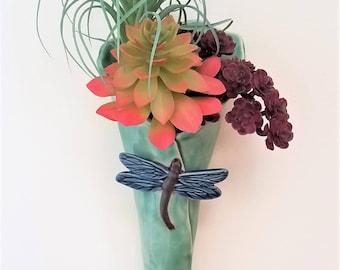 Ceramic Wall Pocket - Succulent Wall Planter - Ceramic Wall Vase - Wall Planter - Hanging Wall Vase - Garden Art- Dragonfly Vase - Dragonfly