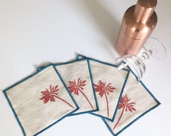 Wild Daisy Cocktail Napkin Set of Four, Handmade in Seattle, 100% cotton cloth coaster, Bar Accessory