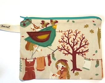 Bird Bird Felt Appliqué large zipper pouch, organic cotton canvas, lined, gift idea