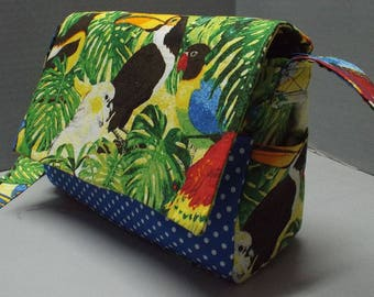 Crossbody Bag/Purse or Shoulder Carry Bag Rain Forest Romp Fabric