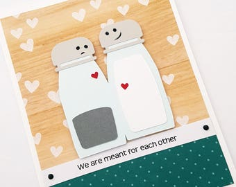 Salt & Pepper Card, We are Meant for Each Other, Cute Valentine's Day Card, Romance Themed Card, Anniversary Card