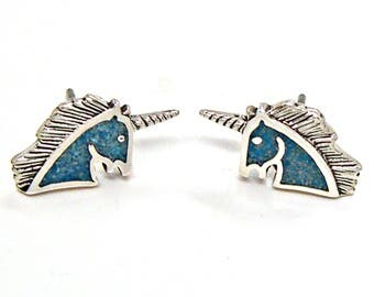 SALE Earrings Unicorn Turquoise Inlay Sterling Silver Minimal Ear Studs no. 3425