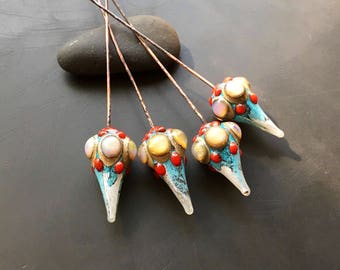Lampwork glass headpin pair artisan glass beads by Lori Lochner turquoise verdis gris and coral red earring or pendant drop charms jewelry