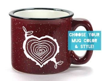 Tree Stump Heart Mug - Choose Your Cup Color