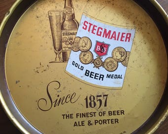 Vintage Stegmaier Gold Medal Beer Tin Tray Bareware PA Gold White Red 1953 epsteam