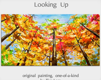 Sale Abstract Landscape Painting Looking Up Forest Original huge modern acrylic on canvas by Tim Lam 48x24x1.4