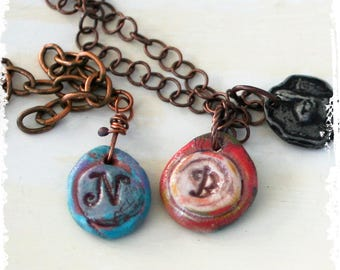 Initial Necklace, Stamped Clay Initial Charm, Stamped Pendant, Rustic Monogram Necklace, Layered jewelry, Personalized Necklace