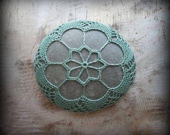 Lace Stone, Crocheted, Table Decorations, Original, Handmade, Home Decor, Fern Green, Gray, Collectible, Monicaj