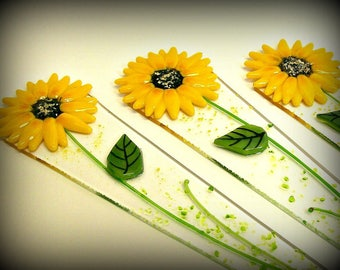 Fused Glass Plant Stake and Garden Stake ( Yellow Sunflower)