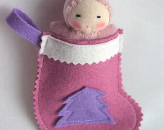 Pink Christmas Stocking for Waldorf dolls, with mini pocket doll, Waldorf toy