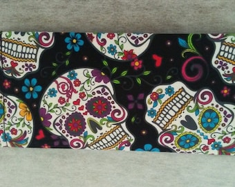 Sugar Skull, Day of the Dead, Dia de los Muertos fabric checkbook cover
