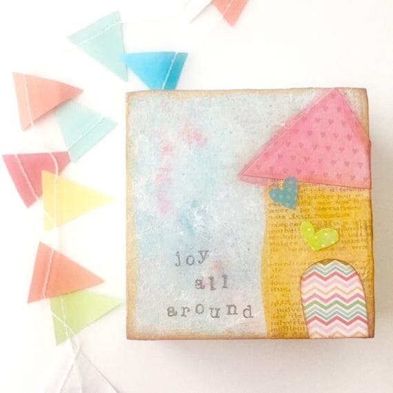 Whimsical house painting • Mixed Media Art • Ethereal Art • Original art • Joy • Small gift idea •4x4 inch wood