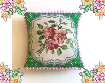 So Kitsch. Super cute upcycled needlepoint Cushion / Pillow Cover. Pink and Green. Recycled Vintage linen with polka dots and pom poms.