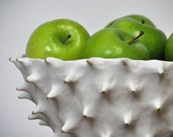 Gold Tipped Large Conch Bowl - Gold White Modern Ceramic Bowl Fruit Bowl Large Ceramic Indoor Planter Pot