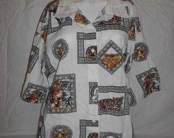 Closing Shop 40%off SALE 80's Vintage button up shirt blouse cat kitty kitten   over plus sized
