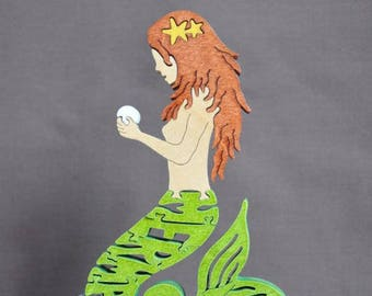 Little Mermaid with Starfish Choice FUN Hand Cut Wooden Puzzle Made in USA
