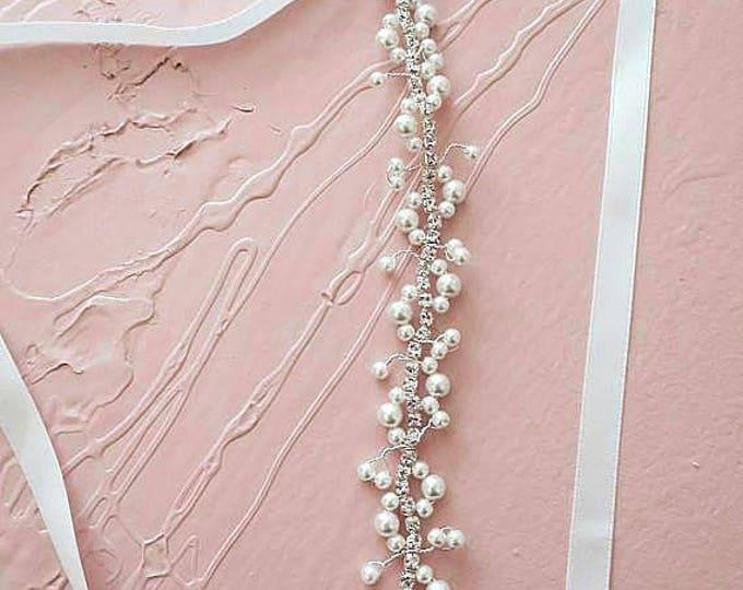 Pearl Crystal Hair Vine Vintage Bridal Headpiece