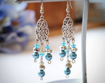 Blue and Silver and Beaded Chandelier Earrings