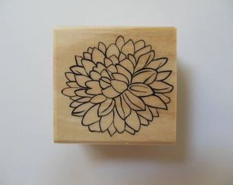 Flower Stamp - Bountiful Harvest Collection - Wood Mounted Rubber Stamp