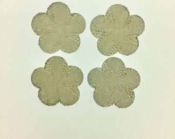 Whole Sale Large 5- Petal Flower Shiny Glitter Flatback 10 Pieces