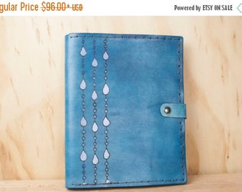 CLEARANCE Leather iPad Case - Rain pattern in blue and white - Handmade for iPad, iPad Mini or iPad Air, or Kindle - Tablet Case