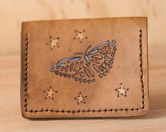 Travel Wallet - Womens Slim Front Pocket Wallet in the Celestial Pattern with Sunflowers, Butterflies and Stars - Yellow and Antique brown