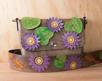 Koi Purse - Handmade Leather Crossbody Bag with Lotus and Koi  - Guitar Strap Purse Strap - Purple, Orange, Green and Antique Black