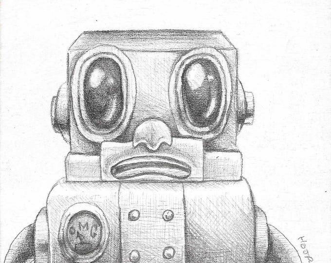 Glum Gus Robot - Original drawing on wood by Mr. Hooper of Nashville, Tennessee