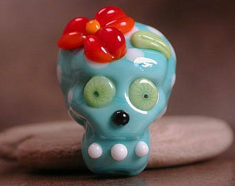 Day of the Dead Sugar Skull Lampwork Glass Focal Bead Divine Spark Designs SRA