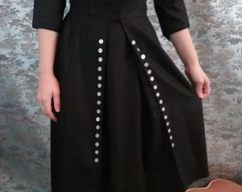 Vintage 50s black and white linen wiggle dress - retro - rockabilly - Ronel of California
