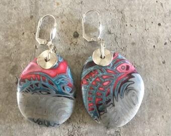 polymer clay earrings pair - littles rocks - new