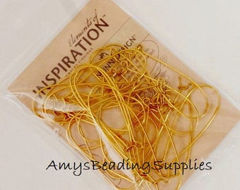 24 Kidney Earwires by NUNN DESIGN Antique Gold Plated, 51mm Long (12 Pairs)
