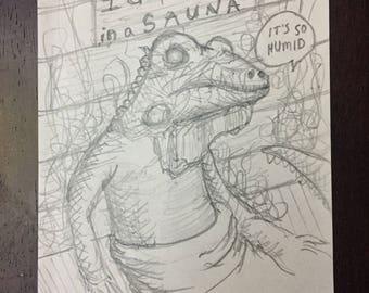 Iguana in a Sauna original signed artwork pencil drawing one of a kind
