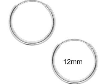 Tiny Sterling Silver Endless Hoop 12mm