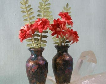 Pair of Tall Dollhouse Miniature Raku Style Vases  in 1:12 Dollhouse Scale