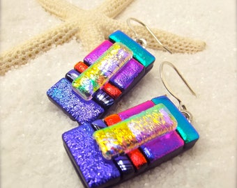 Fused dichroic glass jewelry, dichroic earrings, trending now,glass earrings,dichroic jewelry, glass fusion, statement earrings, hana sakura