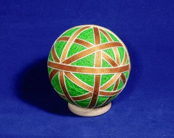 Rattling Temari Ball Ornament Gold and White on Lime Green Home Decor Wedding Gift