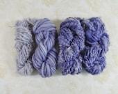 Handspun Art Yarn Knitting Weavers Pack 4 Mini Skeins Collection lavender purple