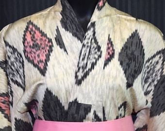 Vintage Japanese Summer Kimono Robe - Ikat Diamonds